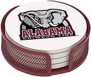 Thirstystone Stoneware Drink Coaster Set with Holder, University of Alabama