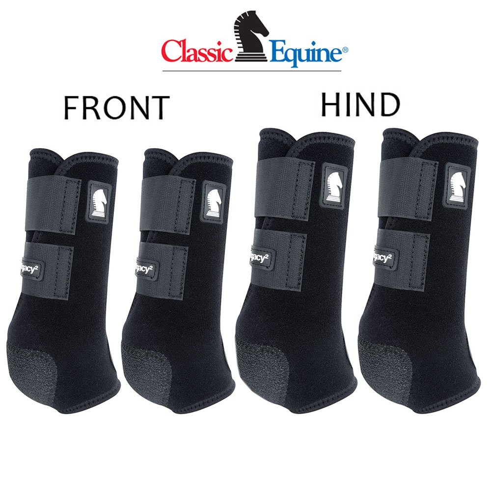 Classic Equine Large LEGACY2 Horse Front HIND Sports Boots 4 Pack Black