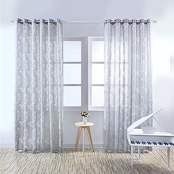 Moresave Wohnzimmer Fenster Vorhang Tüll Blumenvorhang Voile Gardinen  Schals mit ösen
