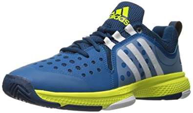 732e36b48651b6 adidas Men s Barricade Classic Bounce Tennis Shoe Tech Steel White Shock  Slime Fabric 11.5
