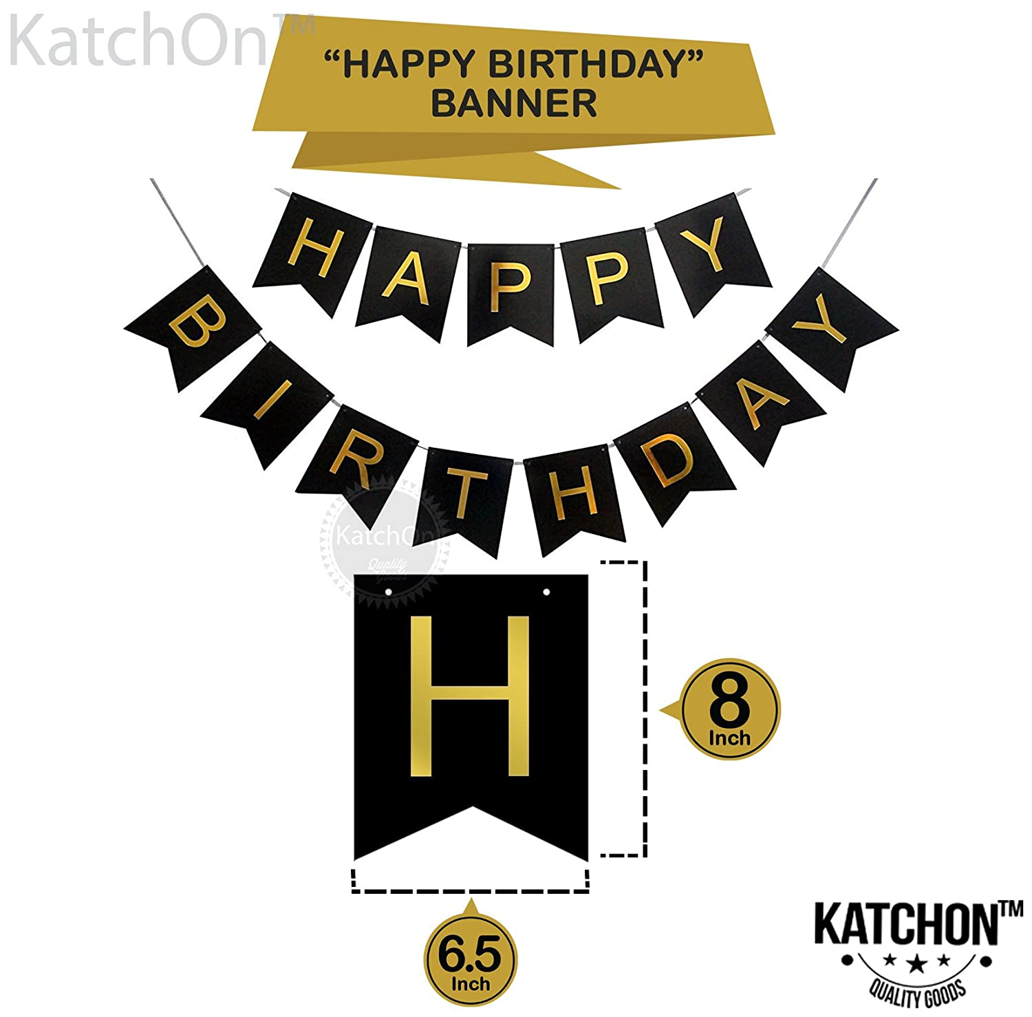 photo about Happy Birthday Printable Banner titled KatchOn 60th Birthday Bash Decorations Package - Joyful Birthday Black Banner, 60th Gold Selection Balloons,Gold and Black, Range 60, Ideal 60 Yrs Previous