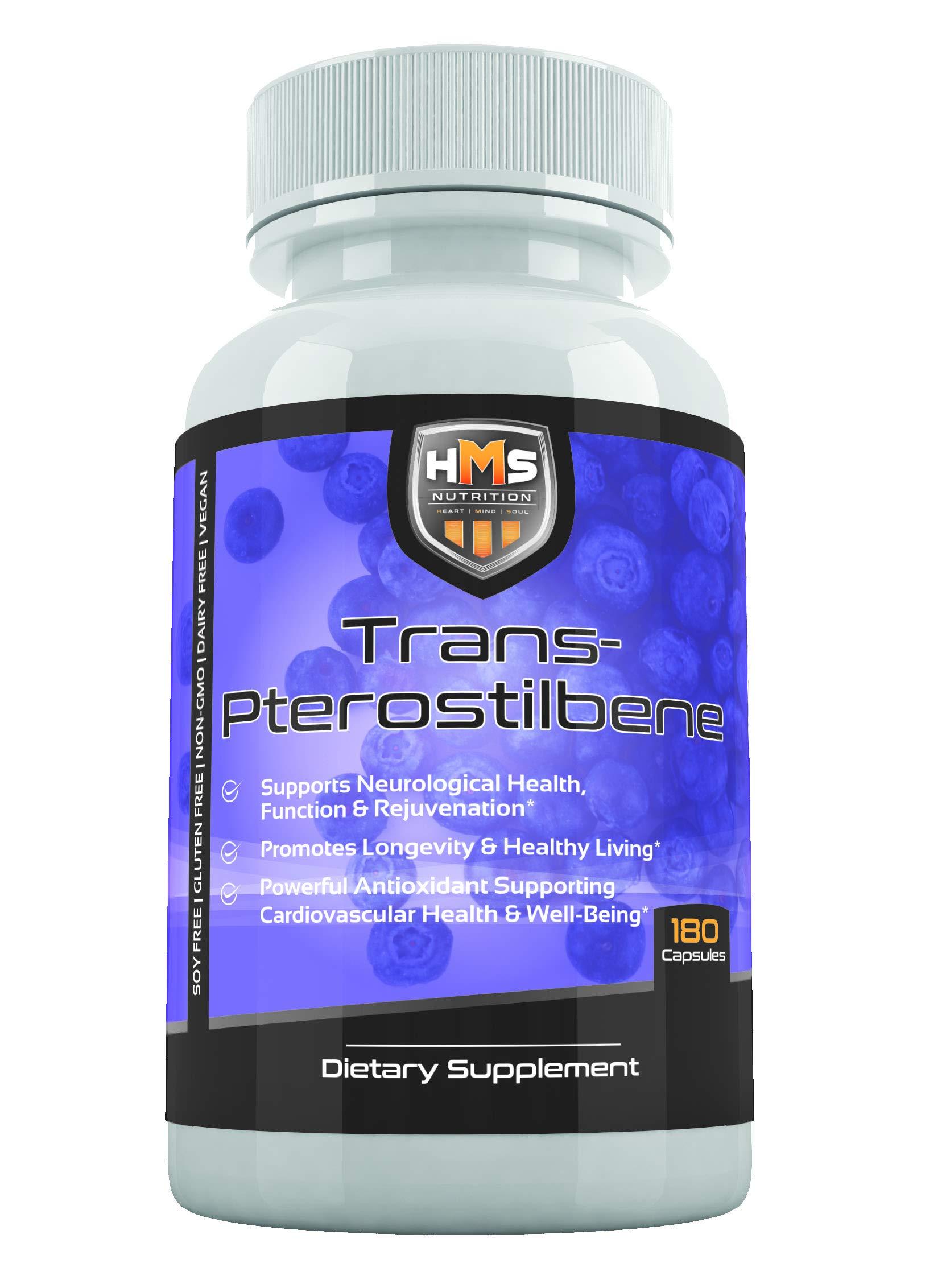 HMS Nutrition Potent Trans-Pterostilbene - 200mg, 180 Vegan Capsules - Anti-Aging, Anti-Inflammatory, Antioxidant Supplement - Gluten, Soy & Dairy Free