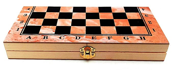 Handmade Travel Size Foldable 11.5 inch Wooden 3 in 1 Chess Checkers Backgammon Game Board