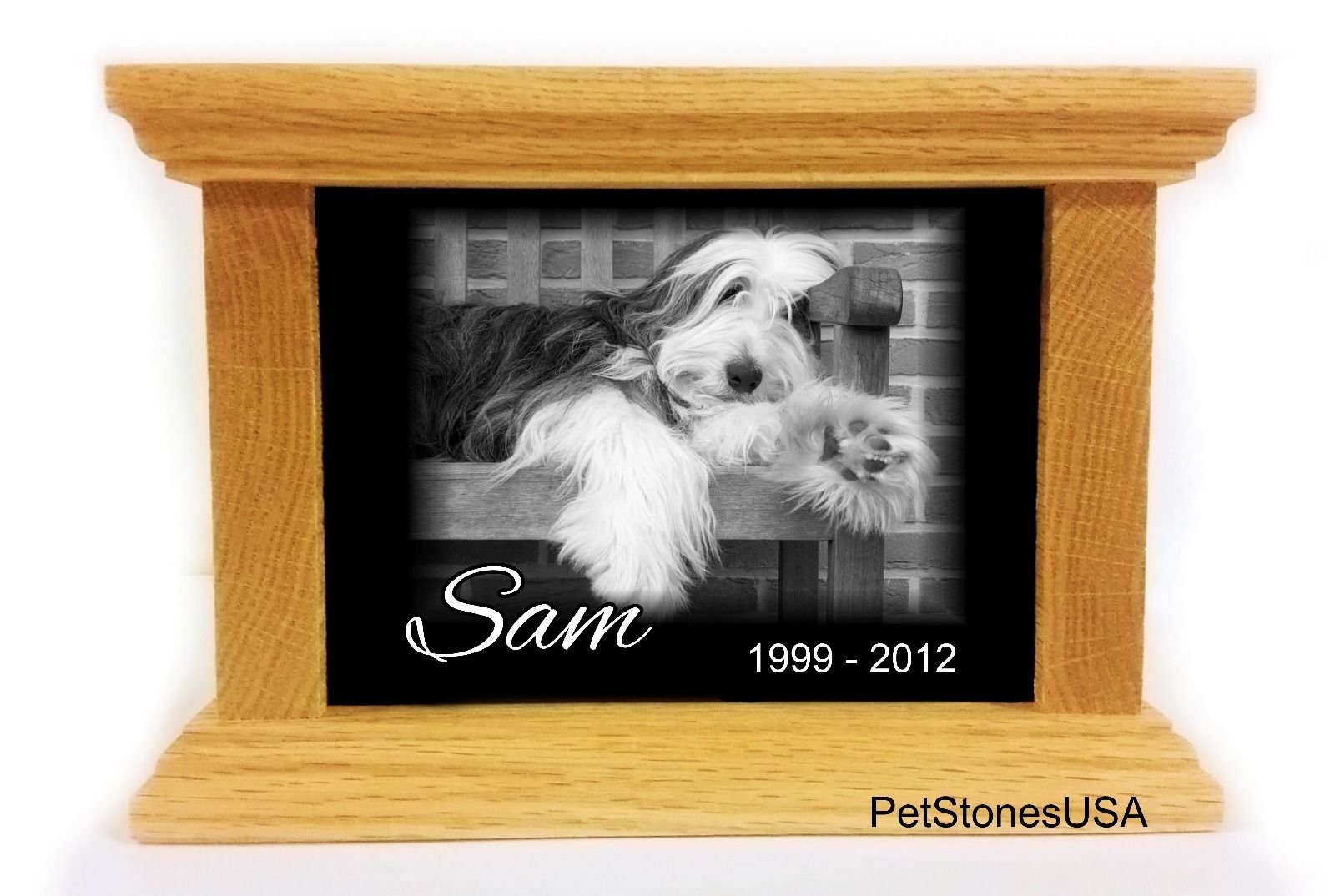 Pet Cremation Urn Oak Wood Box Photo Memorial Granite Any Animal up to 65 Pounds Personalized Personalised