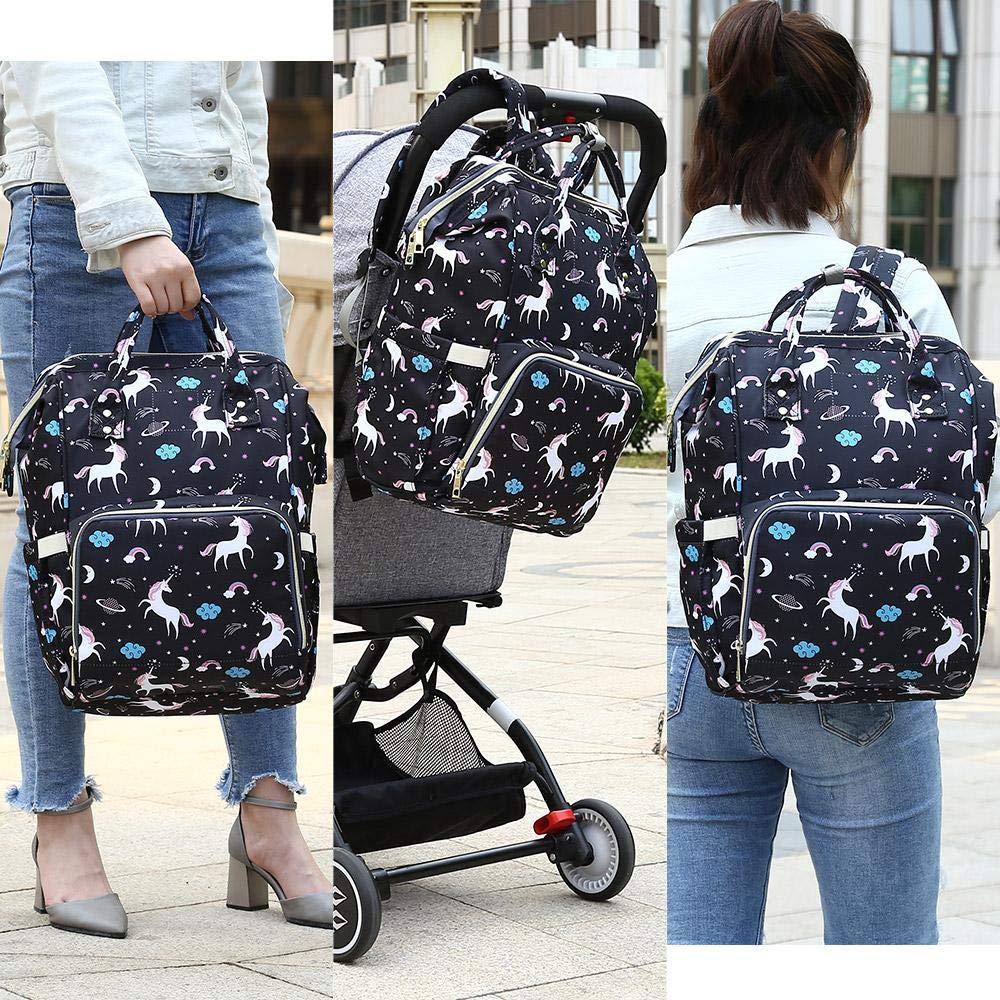 azul unicornio Verolino Mochila multifunci/ón de pa/ñales y biberones para bebes Mochilas de maternidad impermeable con bolsillo t/érmico para carro de bebe