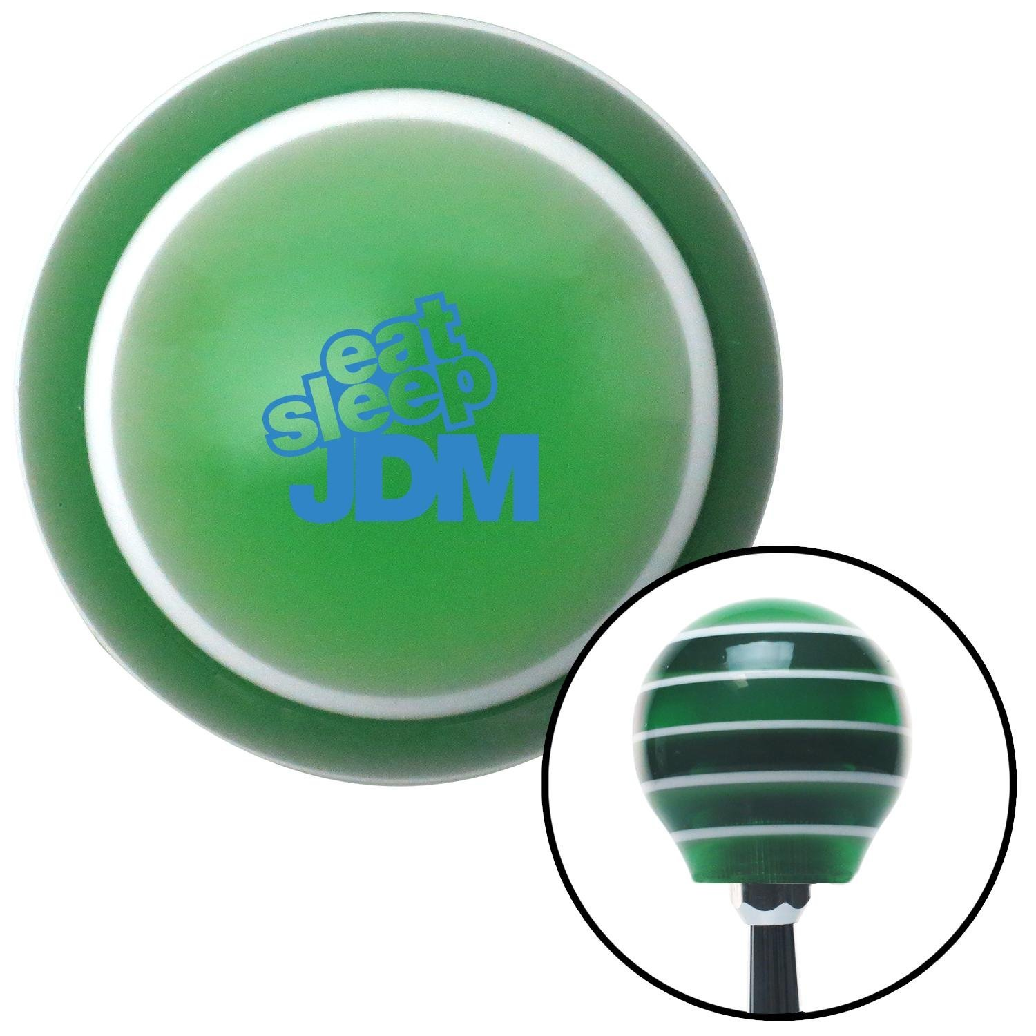American Shifter 275411 Shift Knob Blue Eat Sleep JDM Text Green Stripe with M16 x 1.5 Insert