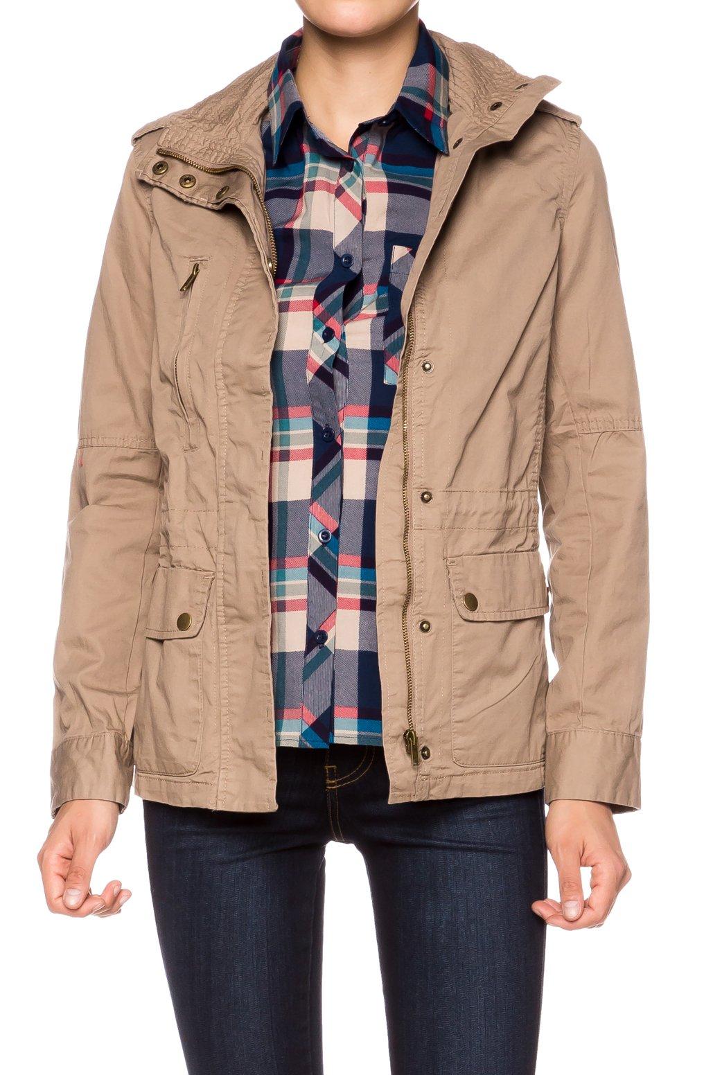 Apparel Sense A.S Juniors Casual Cotton Vintage Woven Jacket-Khaki-Large