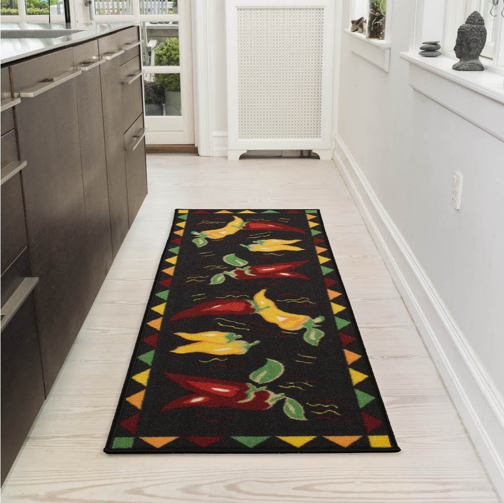 "Ottomanson Siesta Collection Kitchen Hot Peppers Design (Non-Slip) Runner Rug, 20"" x 59"", Black"