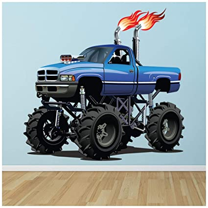 Admirable Amazon Com Azutura Blue Monster Truck Wall Sticker Cool Home Interior And Landscaping Ologienasavecom