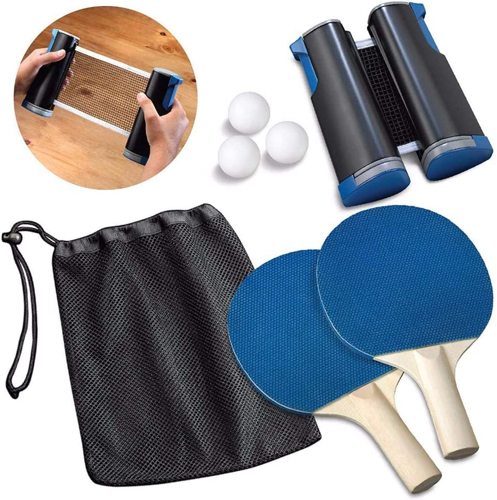 Sanmubo Trading Juego de Tenis de Mesa portátil, Juego de Paleta de Ping Pong con Red retráctil, Accesorios de Tenis de Mesa para Jugar en casa o al Aire Libre (2 Raquetas + 3 Pelotas)
