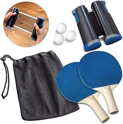 Nishci Juego de Ping Pong, Juego de Tenis de Mesa portátil Pelotas ...
