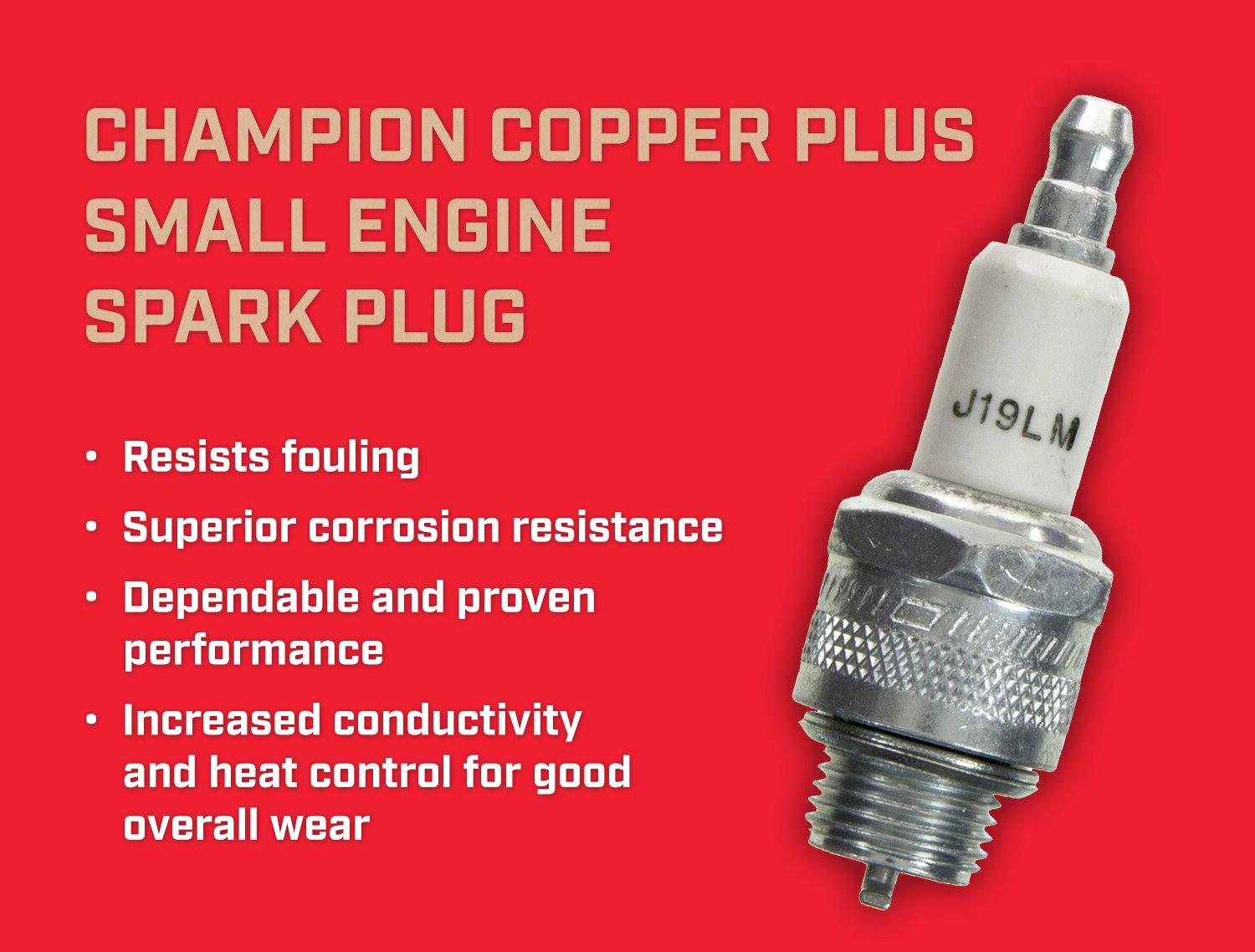 Amazon.com: Champion J19LM (861) Copper Plus Small Engine Replacement Spark Plug (4): Garden & Outdoor
