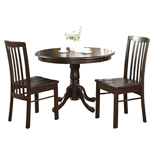 HART3-CAP-W 3 PC breakfast nook- Round Table and 2 Wood Kitchen Chairs