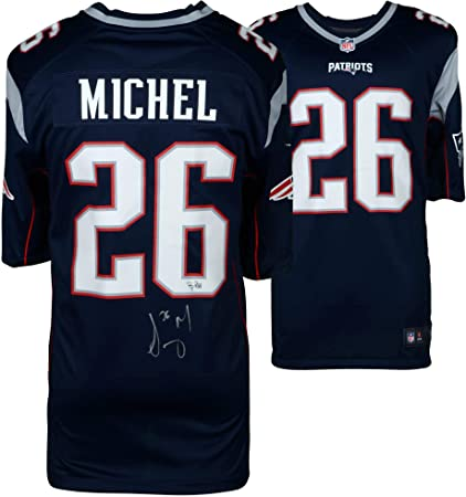 6ed7689b Sony Michel New England Patriots Autographed Nike Blue Game Jersey ...