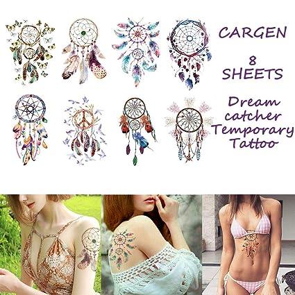 CARGEN 8 Hojas Cazador de sueños Tatuaje Temporal Para Mujeres ...