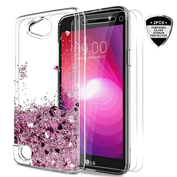 new arrival 9df94 ac2cc LeYi LG X Power 2 / X Charge/Fiesta LTE /K10 Power Case with Tempered Glass  Screen Protector [2 Pack], Liquid Glitter Sparkle Cute Girls Women Clear ...