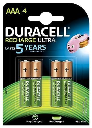 Duracell - Ultra Pilas Recargables AAA 900 mAh, paquete de 4