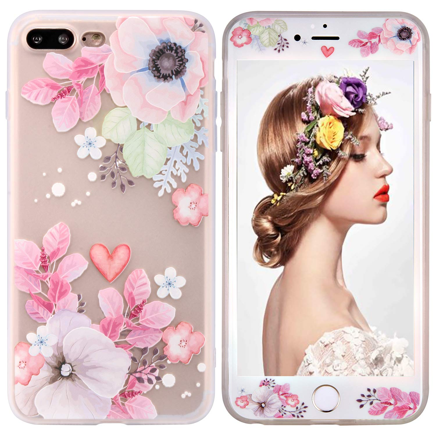 beautyshow Phone Case for iPhone 7 plus/8 plus, Floral Flower Printed TPU Soft Apple Protective Case with 9H Hardness Tempered Glass Screen Protector (Love Hibiscus) DIP7PR0014-FBA