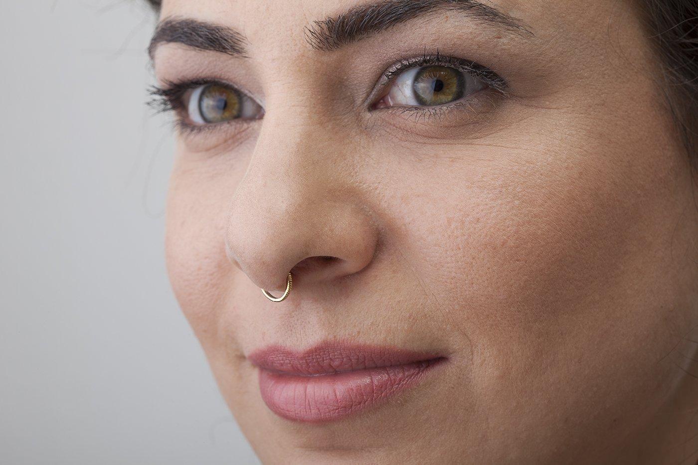 Amazon Com Septum Ring Handmade Solid 14kt Gold Minimalist Nose