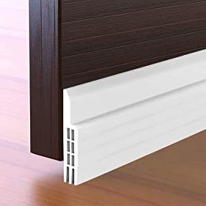 """Door Draft Stopper Under Door Seal for Exterior/Interior Doors Bottom Insulation Soundproof Sweep Self-Adhesive Large Gap Draft Blocker Weather Stripping Noise Stoppers 2"""" W x 39"""" L, White"""