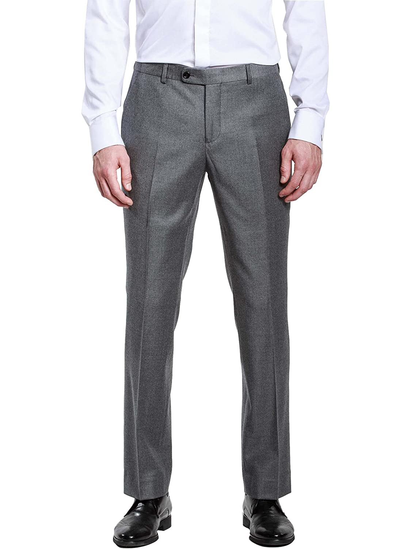 HBDesign Mens Casual Fashion Slim Fit Flat Straight Dark Grey Iron Free Pants HMP5014GY