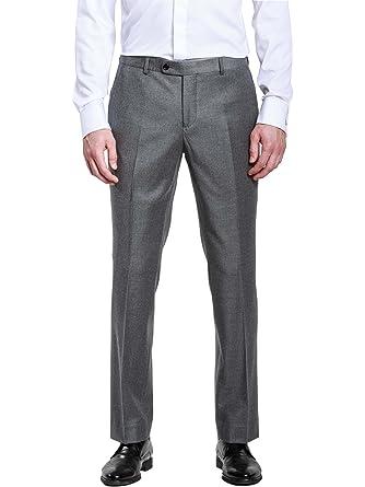 Amazon Hbdesign Mens Formal Dress Slim Fit Flat Straight Grey