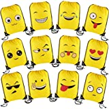 VEYLIN 12 PCS Emoji Drawstring Backpack Bags,Party Favor Bags for Kids Boys and Girls,14 x 17 Inch