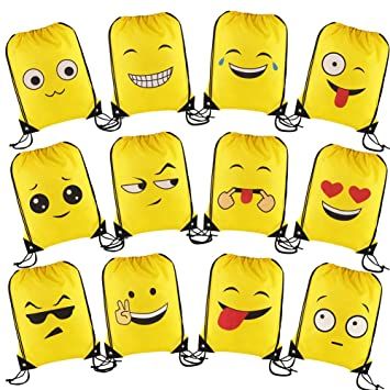 08105e71eeb3dc CCINEE 12 Packs Emoji Drawstring Backpack Party Bags for Kids Girls and Boys,Ideal  Party