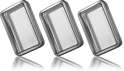 SURVIVAL CONTAINER 3 NEW EMPTY BLANK METAL TALL RECTANGULAR HINGED TIN CAN 3 oz