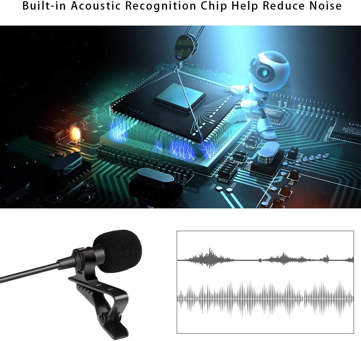 1.5m Gepege Microphone Professional for iPhone Grade Lavalier Lapel Omnidirectional Phone Audio Video Recording Lavalier Condenser Microphone