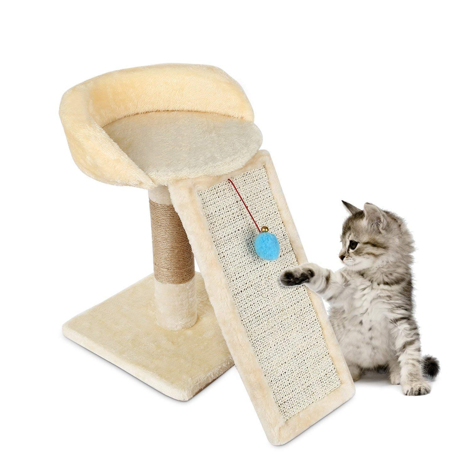 Happystore999 Cat Kitten Scratching Post Tree, Climbing Frame Toy with Ball Bell Toy Cat Scratching Posts Cat Scratch Board Jumping Training Toy