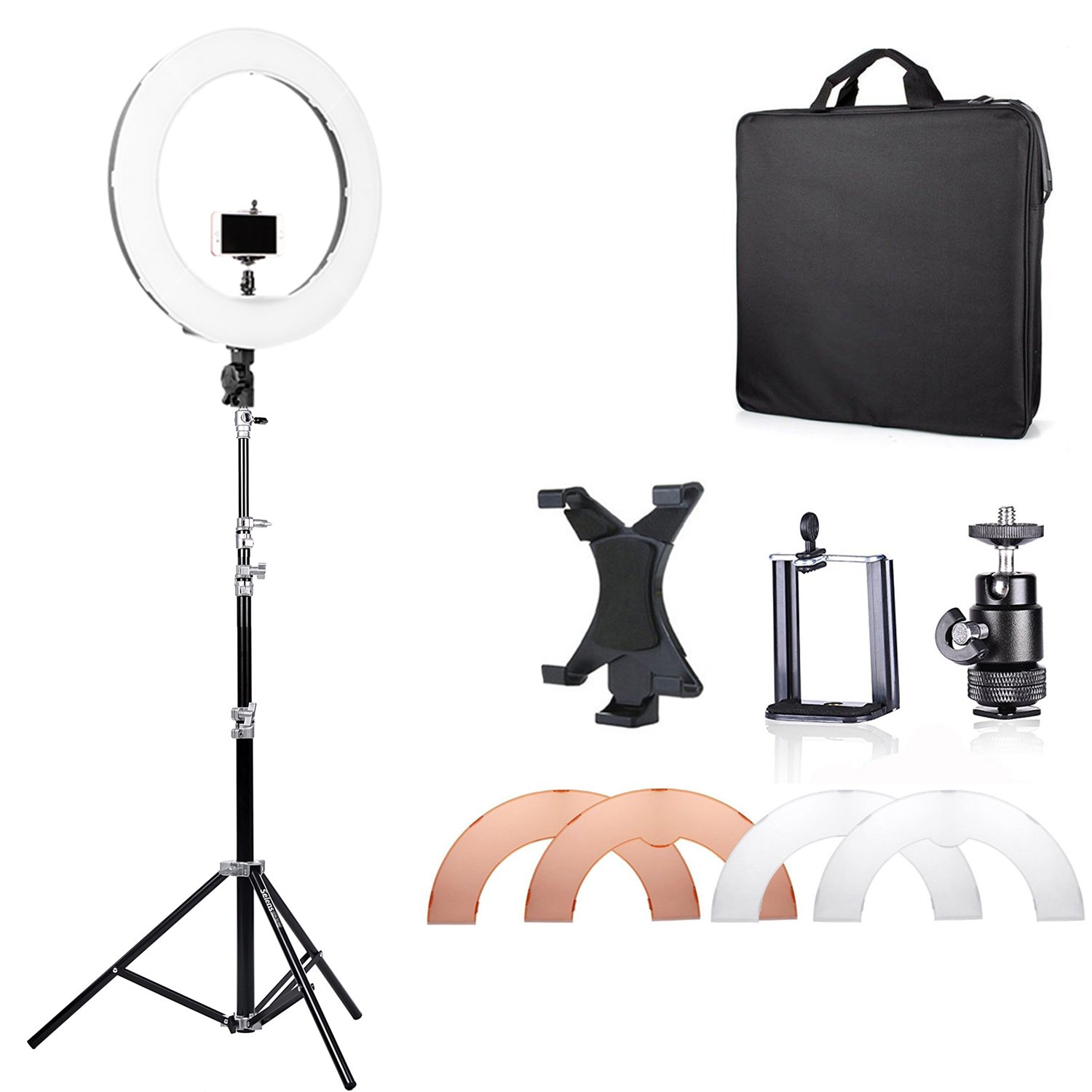 Selens 18 inches/48 cm Outer Dimmable LED Ring Light with 2200A Stand, mount for DSLR Camera Smartphone Ipad, Photo Video Lighting Kit for Photography, Self-Portrait Video Shooting, Youtube