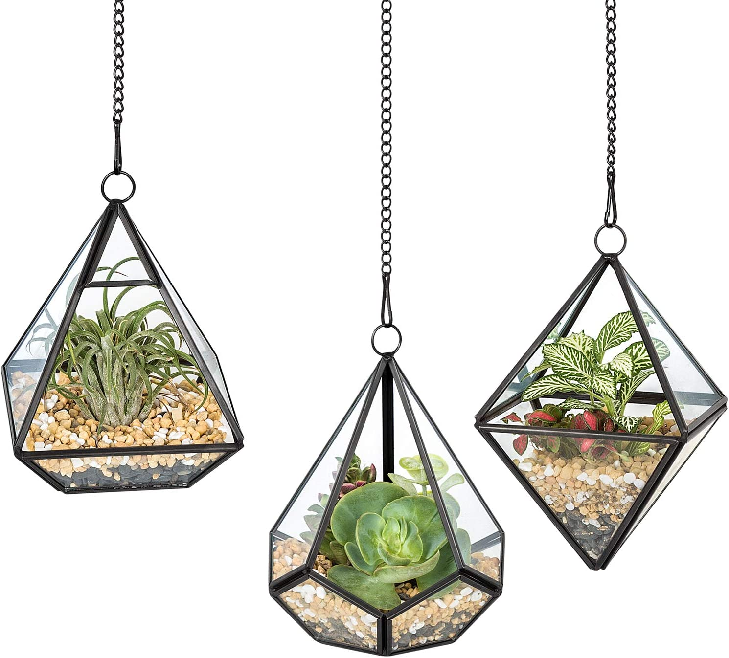 Mkono 3 Pcs Small Hanging Glass Terrarium Geometric Container Vertical Modern Planter Windowsill Decor DIY Display Box Centerpiece Gift for Succulent Fern Moss Air Plants Miniature Fairy Garden, Black