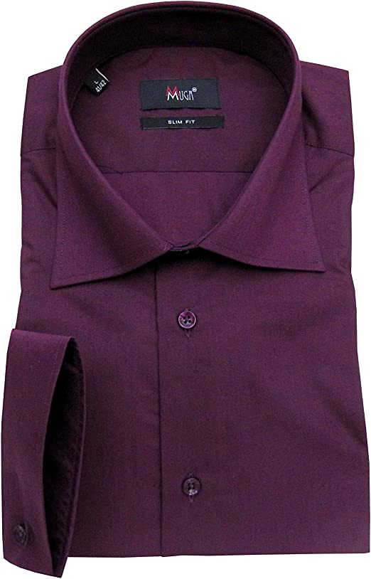 MMUGA - Camisa para Hombre con pañuelo Morado L: Amazon.es: Ropa y accesorios