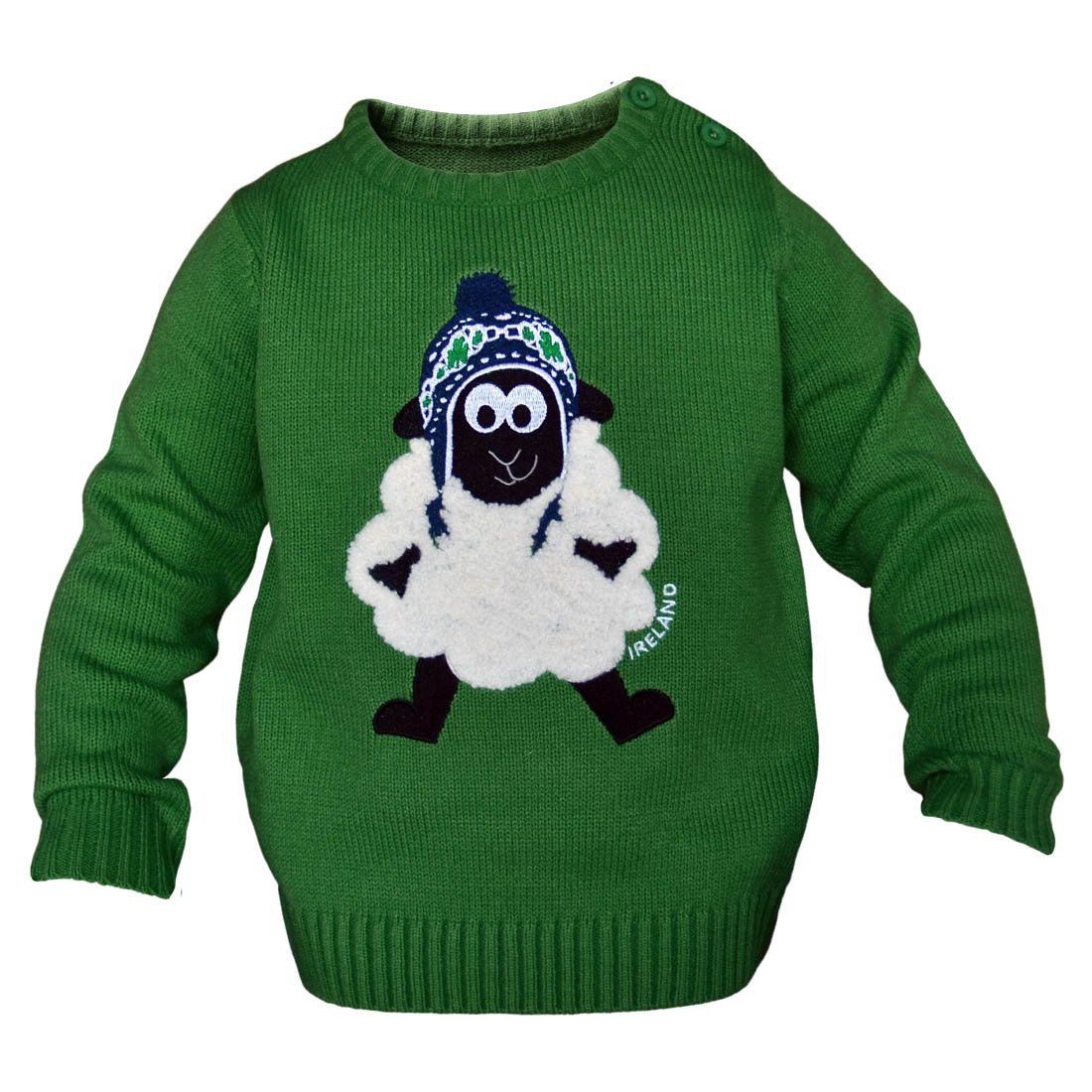 Carrolls Irish Gifts Round Neck Ireland Kids Sweater With Fluffy Sheep Emerald Green Colour Green 7-8 Years
