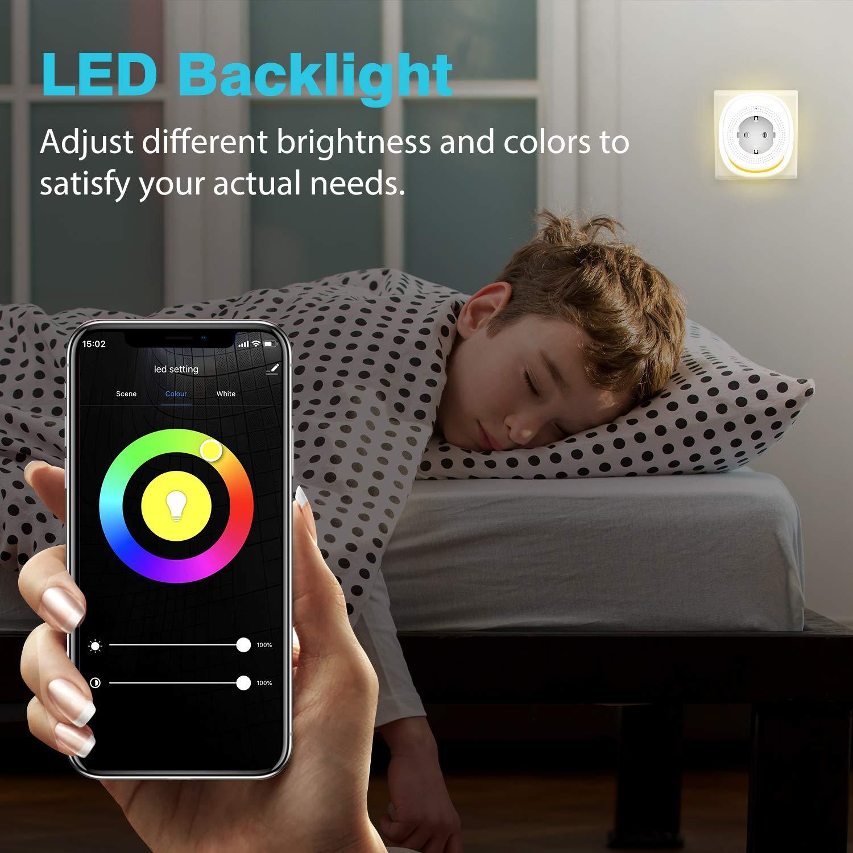 con Tira de Luz LED Ajustable App Control Remoto de Vida 4 PZS Sin Concentrador MoKo 2 Puertos de USB 10A WiFi Enchufe Inteligente de Versi/ón EU Funciona con Alexa Echo y Google House