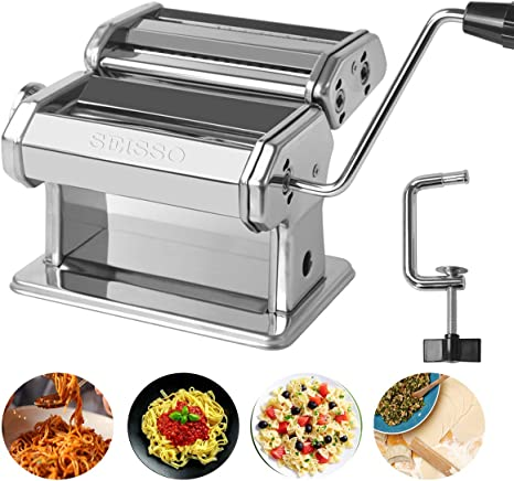 Amazon Com Pasta Maker Washable Stainless Steel Noodle Maker With 7 Adjustable Thickness Settings Manual Hand Crank Pasta Machine Perfect For Homemade Spaghetti And Fettuccini Linguine Trenette Kitchen Dining