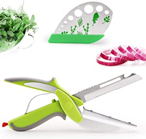 DIFENLUN Clever Cutter Kitchen Scissors, 6 in 1 Food Choppers Slicer with Built-in Cutting Board Stainless Steel with 9 Holes Herb Stripper for Chopping Fruits, Vegetables, Meat