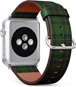 Q-Beans Watchband, Compatible with Small Apple Watch 38mm / 40mm - Replacement Leather Band Bracelet Strap Wristband Accessory // Clan Forbes Tartan Plaid Scottish Pattern