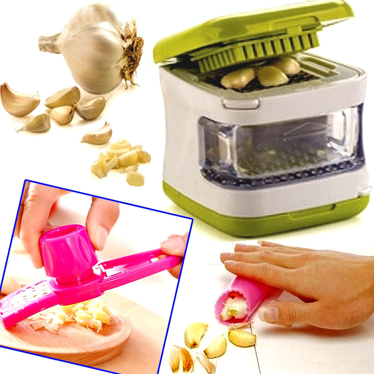 The Wolf Moon® Garlic Cube Chopper Slicer Hand Press Garlic Grinder Crusher and Magic Silicone Garlic Peeler set