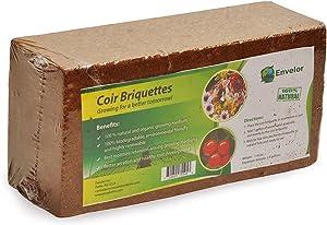 Envelor Organic Coco Coir Fiber Growing Media - 1 Brick = 2.4 Gallons of Potting Mix - Urban Vegetable Garden, Grow Seedlings, House Plants - pH-Balanced - 1.5 lb Briquette, 2 Pack
