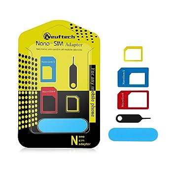 23c0b0495b2 Neuftech 5 en 1 adaptador de tarjeta SIM ( nano a micro,micro a sim,nano a  sim ) para el iPhone 6/5/5S P4/4S Samsung etc: Amazon.es: Electrónica