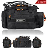BLISSWILL Outdoor Multifunctional Fishing Tackle Bag Water-Resistant sided Waist Shoulder Carry Strap Storage Waist Pack Sling Bag Fishing Gear Storage for Fishing Hiking Climbing(Bigger)