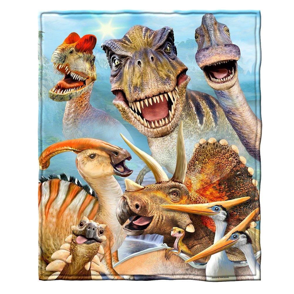 Dinosaurs Selfie Fleece Throw Blanket