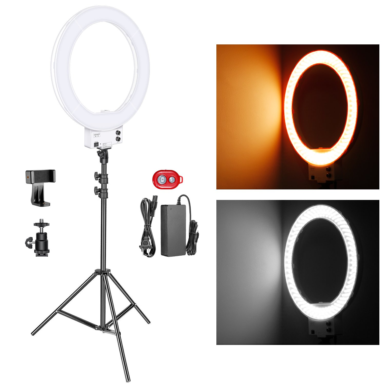 Neewer 18-inch White LED Ring Light with Silver Light Stand Lighting Kit Dimmable 50W 3200-5600K with Soft Filter, Hot Shoe Adapter, Cellphone Holder for Make-up Video Shooting 10094186