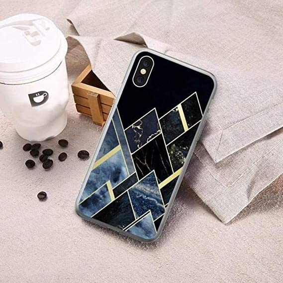 3301a1d348e058 Image Unavailable. Image not available for. Color  New Blue Black Geometric  Marble Case for iPhone 8 7 6 6s X ...