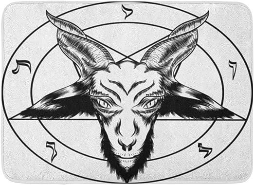 Kanaite Alfombrilla de baño Pentagrama Baphomet Símbolo Binario ...
