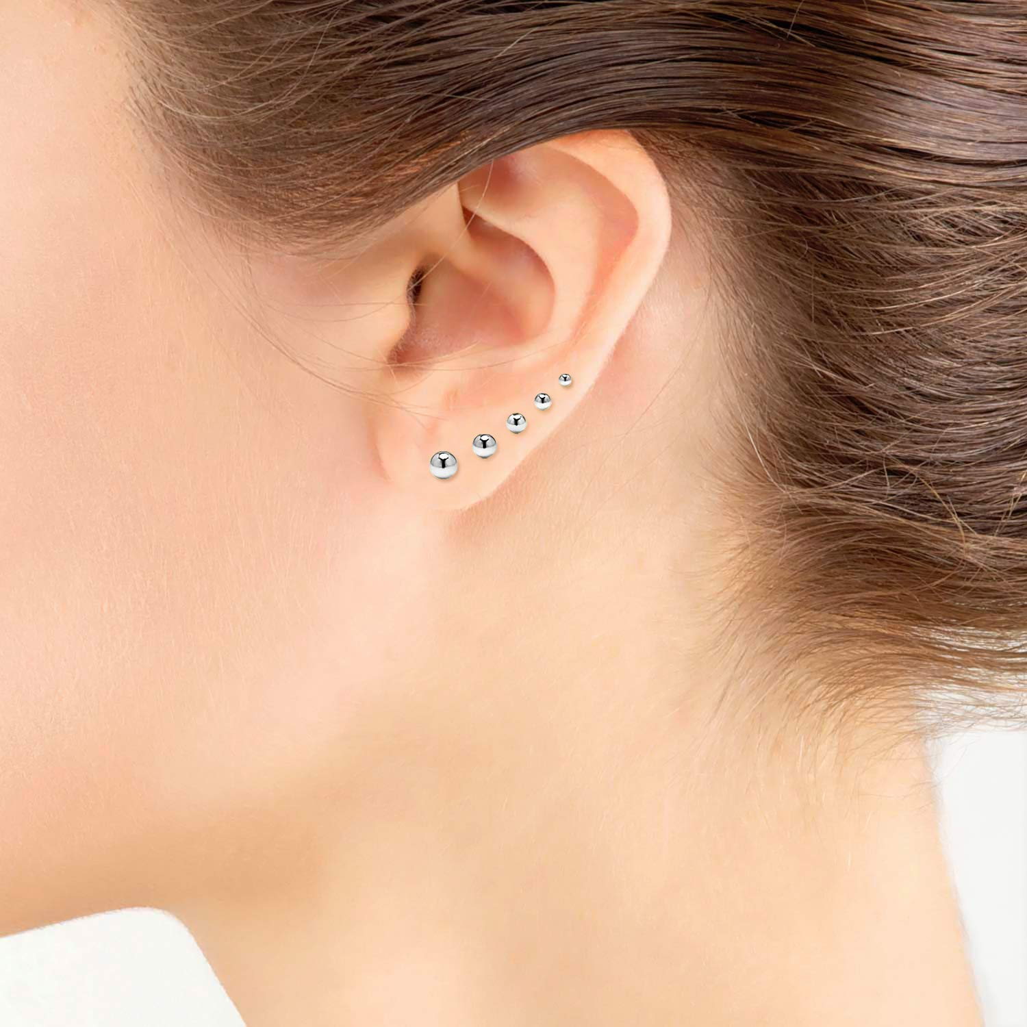 06a9bd5fa Amazon.com: Silverline Jewelry 5 Pair Stainless Steel Round Ball Stud  Earrings Set for Women Men Teen Girls: Jewelry