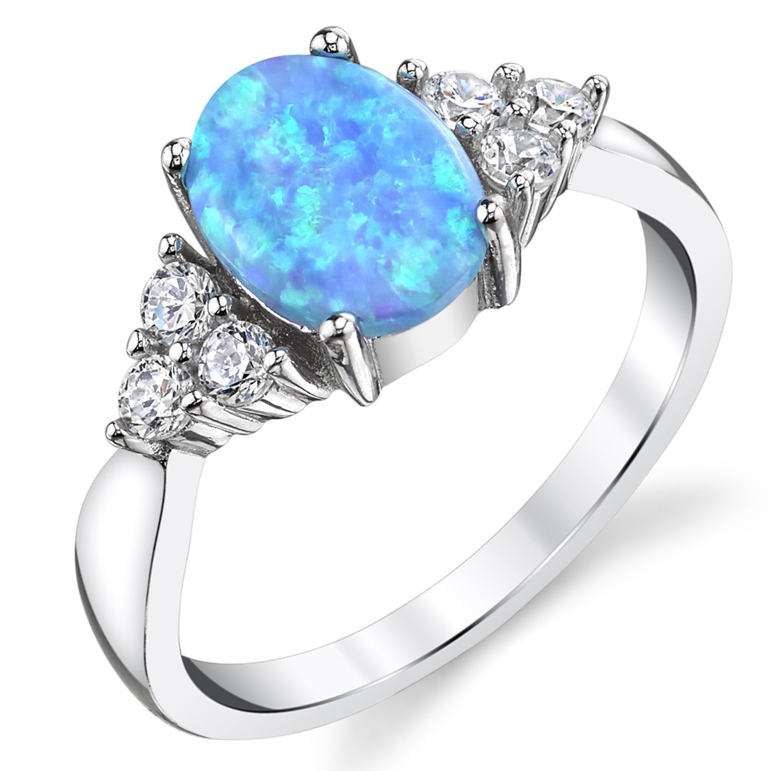 Metal Masters Co. Oval Shape Blue Simulated Opal Ring Sterling Silver with Cubic Zirconia Size 9 SILRXXX269