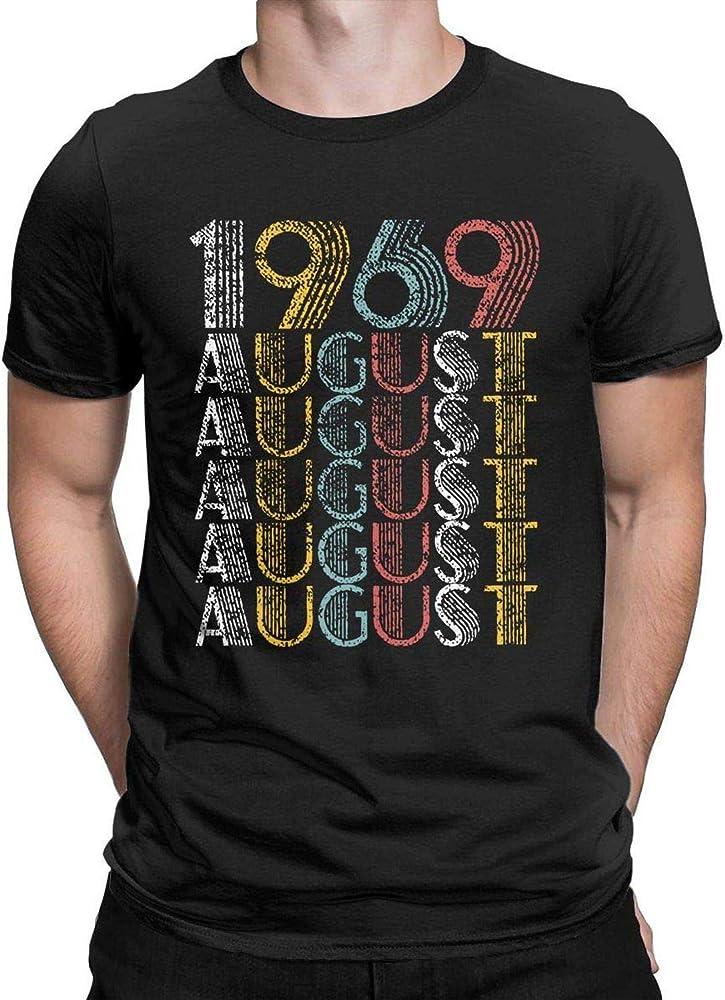 HuangLipingHLP Vintage de Agosto de 1969 50o cumpleaños Camiseta Ocasional de la Camisa 50 años TES de Las Tapas de los Hombres de Edad, Pequeño, Negro: Amazon.es: Ropa y accesorios